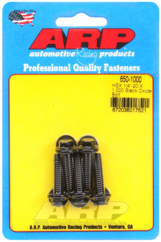 1/4-20 X 1.000 hex black oxide bolts