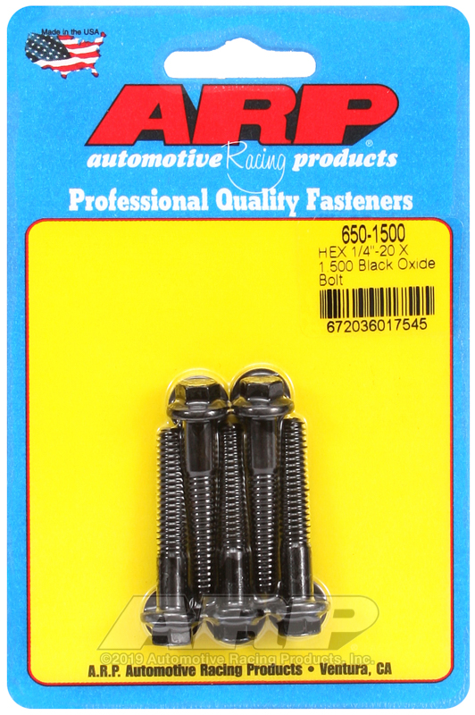 1/4-20 X 1.500 hex black oxide bolts