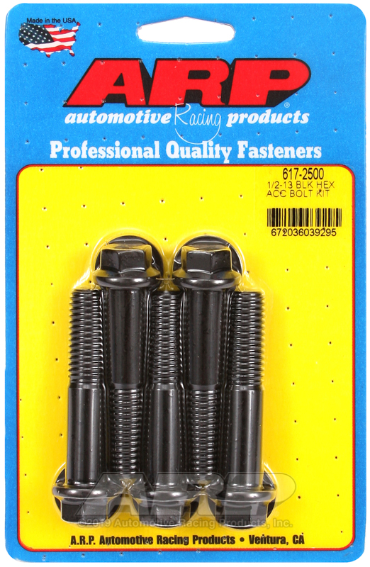 1/2-13 x 2.500 hex black oxide bolts