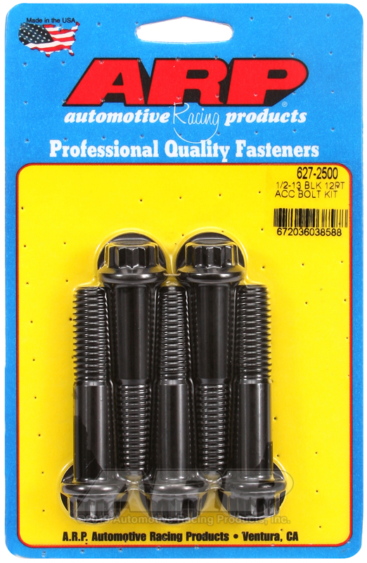 1/2-13 x 2.500 12pt black oxide bolts
