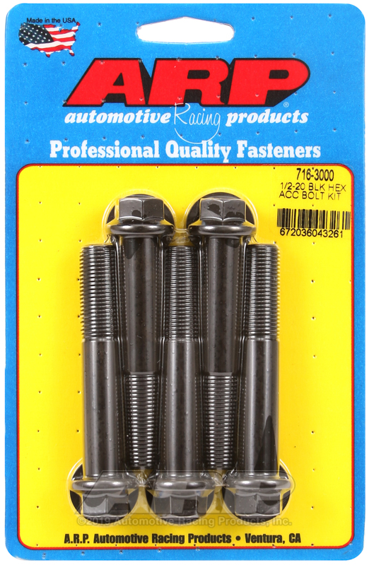 1/2-20 x 3.000 hex black oxide bolts