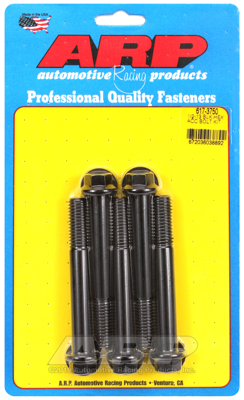 1/2-13 x 3.750 hex black oxide bolts