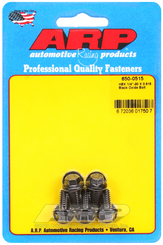 1/4-20 X 0.515 hex black oxide bolts
