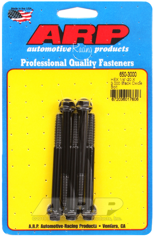 1/4-20 X 3.000 hex black oxide bolts