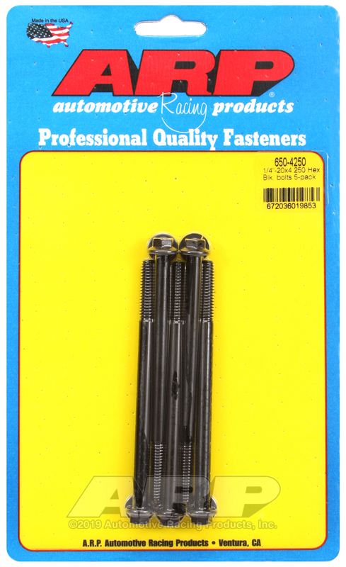 1/4-20 X 4.250 hex black oxide bolts