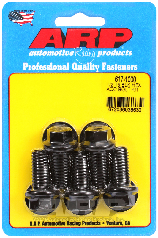 1/2-13 x 1.000 hex black oxide bolts