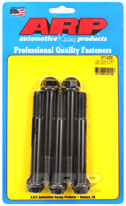 1/2-13 x 4.250 hex black oxide bolts