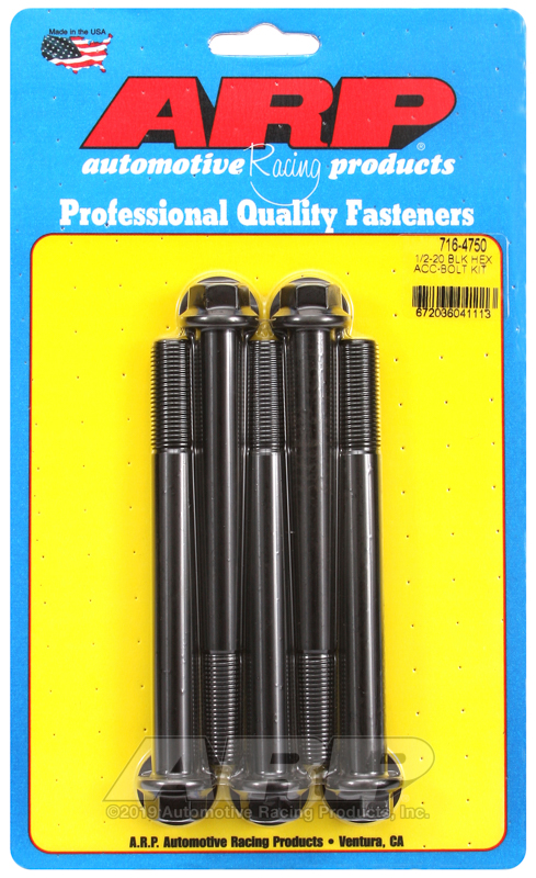 1/2-20 x 4.750 hex black oxide bolts