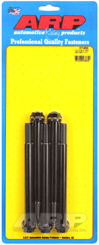 1/2-13 x 6.000 hex black oxide bolts